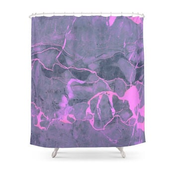 Society6 Grey And Pink Marble Shower Curtains