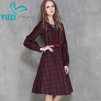 Vestidos Femininos 2017 Yuzi Autumn New Vintage Bodycon Cotton Dress Lantern Sleeve O-Neck Pleated Women Dresses A6536 Vestido