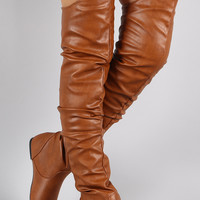 Slouchy Over-the-Knee Flat Boot