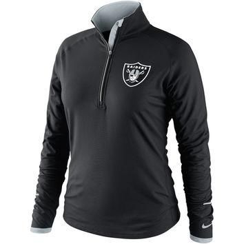 Nike Oakland Raiders Women's Conversion Half Zip Performance Jacket - Black