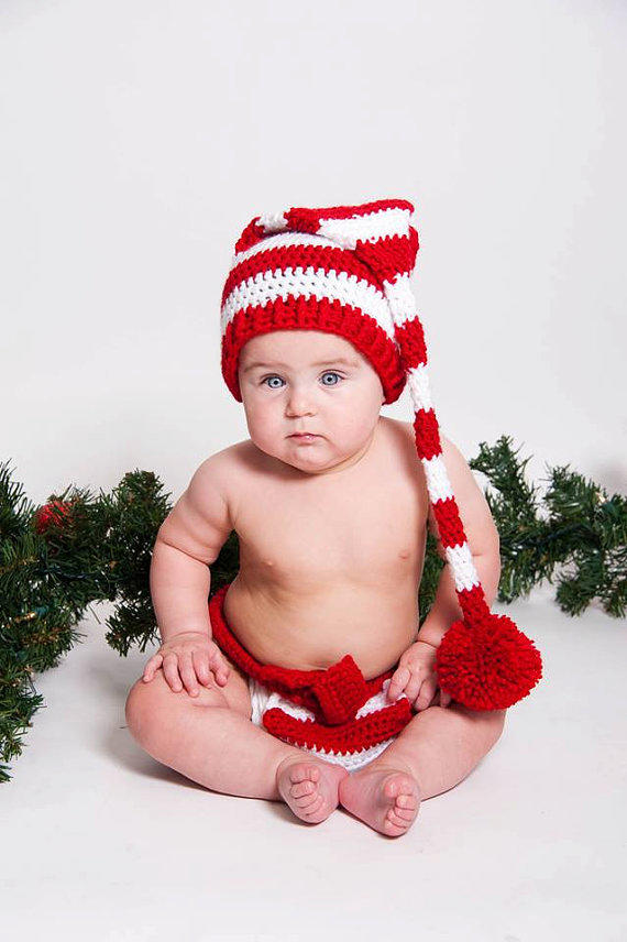 - Baby Elf Outfit, Christmas Striped Elf From J&E Doodles Newborn