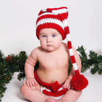 Baby Elf Outfit, Christmas Striped Elf Hat and Diaper Cover, Newborn Elf hat, Baby Christmas outfit, Newborn to 12 month sizes available