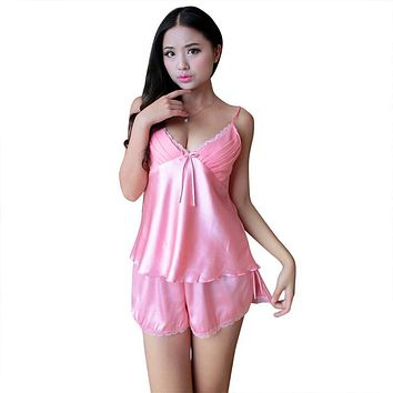 Women Satin Lace Robe Shorts Babydoll Sleepwear Nightwear 2pcs Pajamas Set