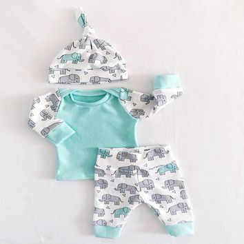 Long sleeve Newborn Clothes 3PCS Baby Girl Clothes Set New Born Boys Sets Infant Baby Tops+Pants+hat Elephant pattern baby set