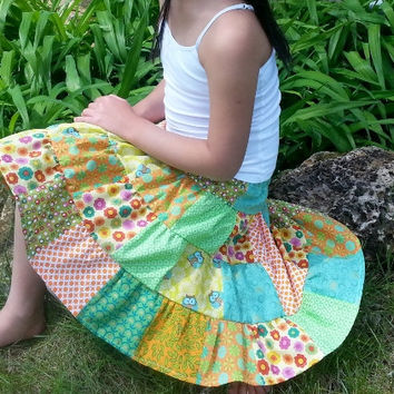 Girls Twirl Skirt ~ Size 6 Skirt ~ Girls Boutique Skirt ~ Girls Scrap Skirt ~ Patchwork Skirt ~ Girls Ruffle Skirt  ~ Green Yellow Orange ~