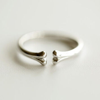 925 sterling silver (smooth bone opening ring) silver ornament ring