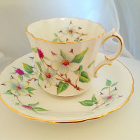 Hammersley White Dogwood Blossom Teacup & Saucer Set English Fine Bone China Vintage - Green Yellow red White - afternoon tea wedding party