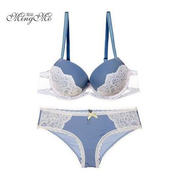 New spell color bra sexy lace bra sets sexy embroidery push up bra and panties for women underwear set