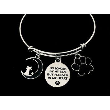 Special Cat Memory Bracelet Forever in My Heart Adjustable Bracelet Expandable Silver Charm Bangle Memorial Pet Loss Gift Paw Print Cat on the Moon