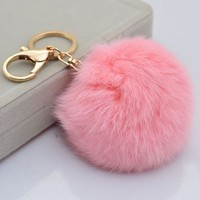 YSTD® Gold Plated Keychain with Plush Cute Genuine Rabbit Fur Ball Key Chain for Car Key Ring Cell Phone or Bags (Light Pink)