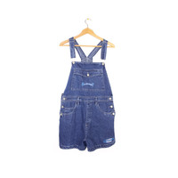 BUM EQUIPMENT OVERALLS - vintage 90s 1990s - denim shortalls - jean overall shorts - size large