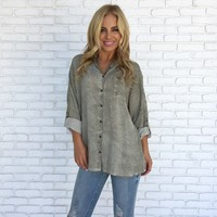 Pretty Lady Acid Wash Blouse in Olive