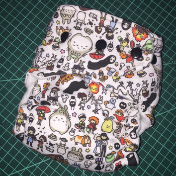 Hybrid fitted OR AI2 cloth diaper - Ghibli