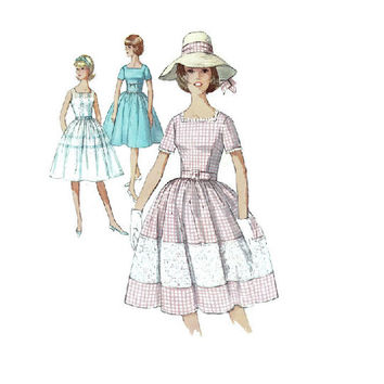 Simplicity Sewing Pattern 5347 Tea Garden Party Dress 1960s Full Skirt Square Neckline Fitted Bodice Size 12 Bust 32