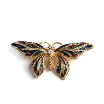 Vintage Jackie Kennedy Enamel Butterfly Brooch Signed JBK, Camrose & Kross Reproduction JBK Brooch, Enamel and Rhinestone, Vintage Jewelry