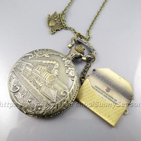 Steampunk Harry potter pocket Watch necklace,Train to Hogwarts with owl and Hogwarts Acceptance Letter pendant locket watch necklace