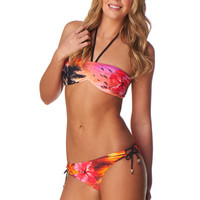 Pink Tropical Floral Print Bandeau Swim Top