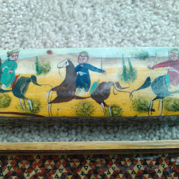 Vintage Turkish Pencil Box, Hand Carved Wood, Hand Painted and Lacquered Box, Turkish Scene, Men Riding Horses, Trinket Box with Slide Door