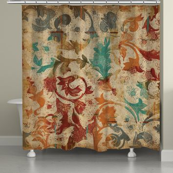 Floral Scroll Shower Curtain