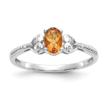 10k White Gold Oval Genuine Citrine Diamond Hearts Ring