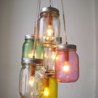 Pretty Pastels Mason Jar Chandelier - Mason Jar Light  - Handcrafted UpCycled BootsNGus Hanging Pendant Lighting Fixture