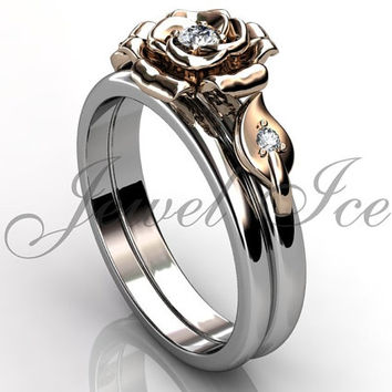 Engagement Ring Set - 14k White and Rose Gold Diamond Unique Flower Wedding Band Engagement Ring Set Bridal Set ER-1127-5