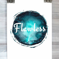 Flawless Print Typography Quote Watercolor Poster Dorm Room Decor Teen Bedroom Wall Art