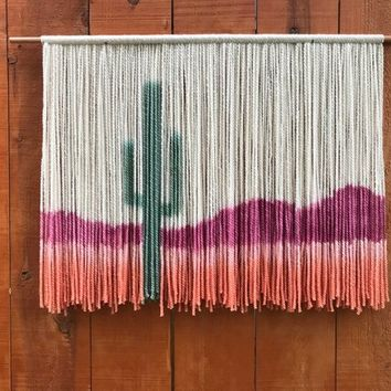 Dip Dyed Tapestry / Yarn Wall Hanging / Cactus Art / Colorful Wall Hanging / Woven Wall Hanging / Macreme Wall Hanging