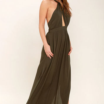 Watch Me Olive Green Maxi Dress