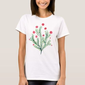Abstract Spring Plant Pink And Green Ink Drawing T-Shirt
