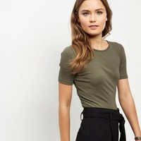 Olive Green Ribbed T-Shirt