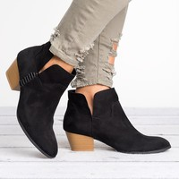 Stacked Heel Booties- Black