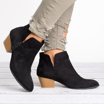 Stacked Heel Booties
