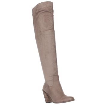 Jessica Simpson Coriee Over The Knee Back Lace Heeled Boots, Slater Taupe, 7 US / 37 EU