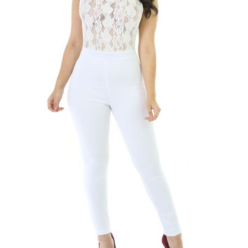 Lace Knitting Tight Jumpsuit