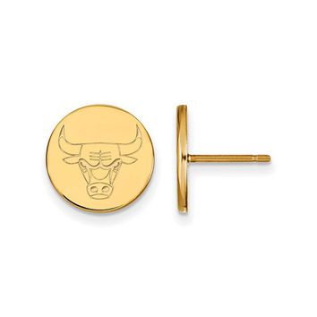NBA 14k Yellow Gold Plated Silver Chicago Bulls Small Disc Earrings
