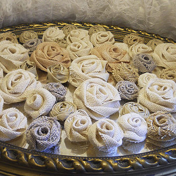Bulk SALE, Lot of 50 Burlap Fabric Flowers for country style weddings, diy weddings, bouquet making, cake toppers. Ready to Ship!