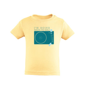 I'm Going Back to Cali Retro Short Sleeve Vintage Kids Tee With Turntable