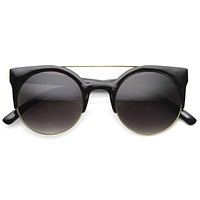 Hip Swag Double Bridge Super Round Half Frame Cat Eye Sunglasses 8921