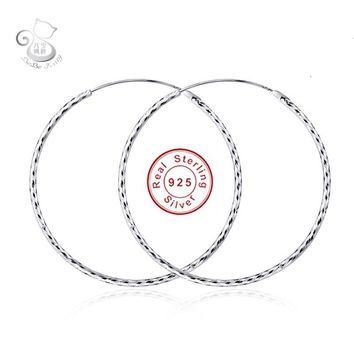 2016 New Fashion 925 Sterling Silver Big Hoop Earring Jewelry Casual Round Hoop Earrings White Gold Earing Broncos Gift