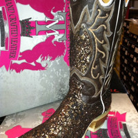 Bronze Sparkly Fabric Foot over Brown Leather Cowboy Boot