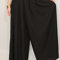 Chiffon palazzo pants Black pant skirt Casual pants