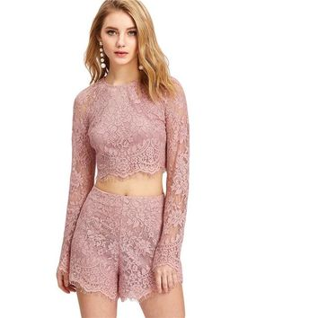 Fashion  Crop Top With Shorts Women Round Neck Long Sleeve Plain 2 Pieces Sets  Spring Elegant Twopiece