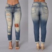 LMFONX5H Acid Wash Ripped High Waist Skinny Jeans