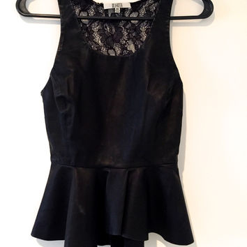 Black Faux Leather And Lace Peplum Tank Top (BB Dakota)
