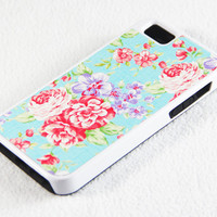 Vibrant Stylish Classical Floral iPhone 5 + 4S + 4 + 5C + 5S Tough Rubber and Soft Case, iPod 5 + 4 Case