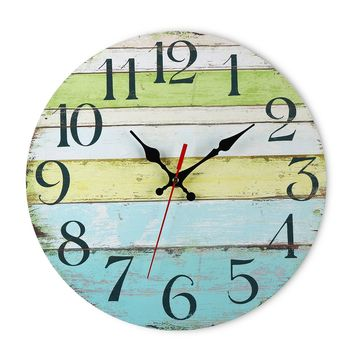 Wall Clock Coloured MDF Boards Stylish Design Home Art Rustic Vintage Sculpture
