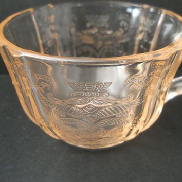 Pink Depression Glass Madrid Pattern cup Federal Glass Co. c 1930s