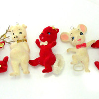 Lot Mid Century Felt Christmas Ornaments Animal Figurines Set Of Five Collectible Gift Item 2353F