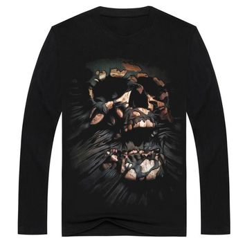Streetwear Death Skeleton men's 3d t-shirt black Skull long sleeve clothes t shirt o neck Tops tshirt